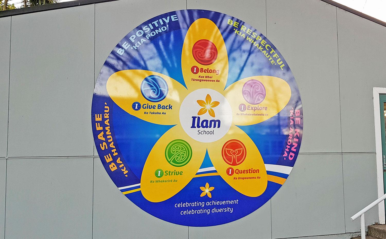 Ilam School Ethos Sign Outside Christchurch NZ