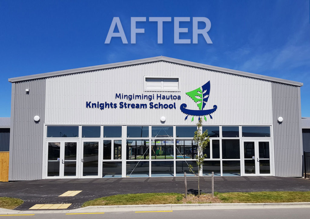 Knights Stream School Completed Sign