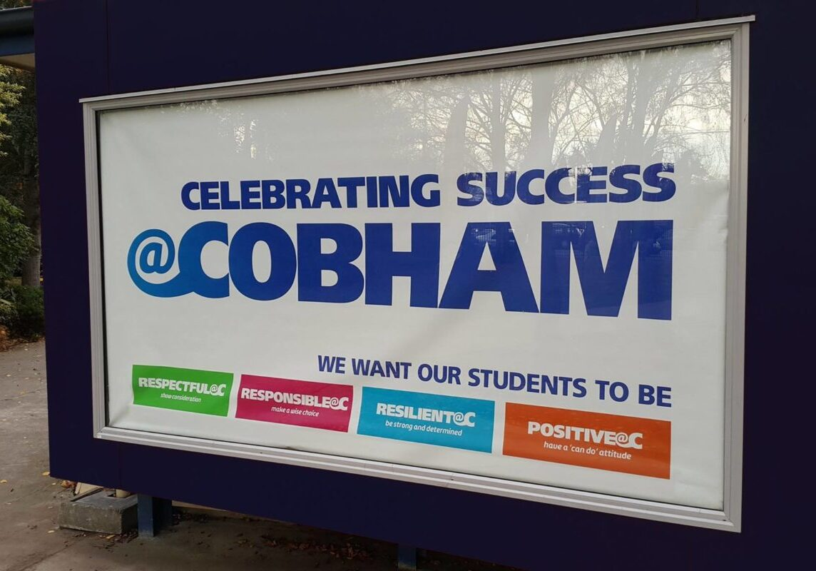 PB4L Window Banner - Cobham Intermediate, Christchurch